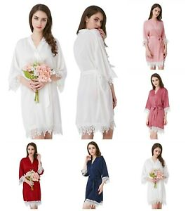 Ladies Satin Lace Robes Bridal Wedding Bridesmaid Bride Gown Hens Robe