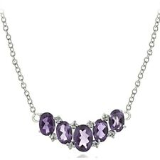 Sterling Silver 2.1ct TGW Amethyst & White Topaz 5-Stone Necklace