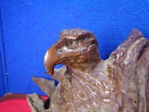 Vintage Wooden Carved American Eagle Figure  Driftwood Folk Art
