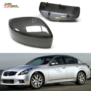 For INFINITI G25 G37 Q60 G35 Dry Real Carbon Fiber Side Mirror Cover Cap Replace