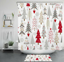 Christmas Abstract Cedar Fir Trees Forest Waterproof Fabric Shower Curtain Set