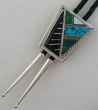 Stunning E. Long Sterling Silver & Intricate Mosaic Inlay Quality Bolo Tie