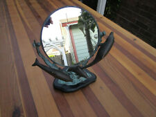 SPI San Pacific International Small Standing Mirror Round With Dolphins