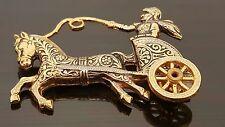 Vintage Toledo Ware Damascene Brooch Spain Chariot Horse Soldier Souvenir Pin