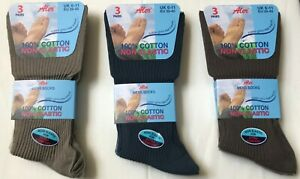 Mens 100% Cotton Non Elastic Socks Soft Top Ideal For Diabetics Varicose Veins