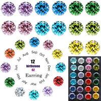 12 Pair/Set Women Girls Color Zircon Crystal CZ Ear Stud Earrings Jewelry Gifts