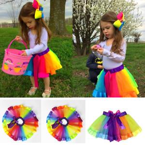 Child Kids Girls Tutu Skirts Cute Rainbow Tulle Ballet Dance Party Dress Costume