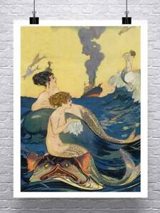 Mermaids At Sea 1880 Vintage Illustration Fine Art Rolled Canvas Giclee 24x32 in