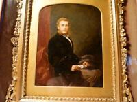 c1871 Hand Portrait Miniature Gentleman in Gilt Gesso Double Box Frame Quality