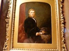 c1871 Hand Portrait Miniature Gentleman in Gilt Gesso Double Box Frame Quality