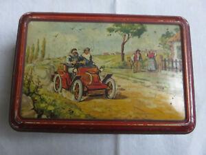 Ancienne boite à sucre biscuit lithographiée Rallye CITROËN Paris Pékin 1920