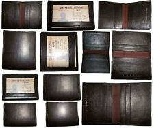 Lot of 12 Leather Business ID card case 6 card holder, New Slim Brown card case