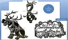 Disney Die(s) Combo Set ~ OLAF, SVEN SITTING, WARM HEARTS-PHRASE Frozen- 221/232