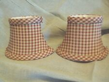 """red yellow white gingham striped design 6"""" mini clip on oval lamp shade set of 2"""