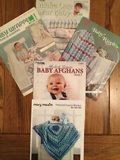 Baby Afghans Crochet & Knit Lot Of 5 Leisure Arts & Mary Maxim SC Good Free Ship