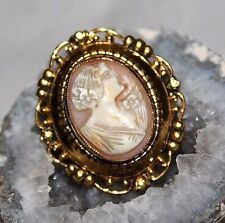 Antique Edwardian Coral Cameo Shell Heavy Gold Plate Exquisite Brooch BU2
