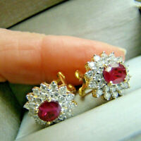 2.50Ct Oval Cut Red Ruby & Diamond Halo Stud Earrings 14k Yellow Gold Finish