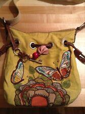 Fossil Key-Per Keyper Butterfly Coated Canvas cross body  Handbag Purse