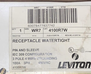 LEVITON 4100R7W PIN AND SLEEVE REC WTRTIGHT P/S 3PH 100A 480V 3 POLE 4 WIRE