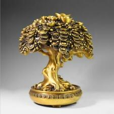 Chinese Brass Fengshui Wealth Yuanbao coin copper cash Cow Money Tree Statue