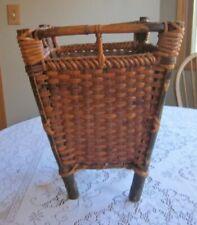 Antique Hand Woven Primitive Basket Waste Basket