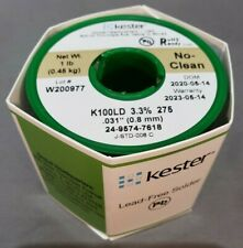"Kester 24-9574-7618 No-Clean K100LD Wire Solder, Lead-Free, 0.031""Dia, Authentic"