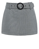 NEW Womens Gingham Skirts Dog Tooth Mini Short Skirt Party Size 8 10 12 14 Black