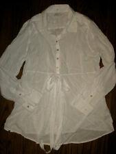 NEW womens Gap maternity shirt top blouse large white long sleeve rayon