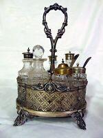 Antique Silver Plate Glass Condiment Server Castor Set Bottles