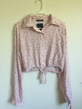 New! Brandy Melville pink floral collared button up tie front Lenny top NWT S/M