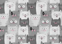 A1 Cute Cat Audience Grey White Poster Art Print 60 x 90cm 180gsm - Gift #14431