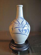 """Very Fine Large Korean Chosun Dynasty Blue & White Baekja Vase Jar 11"""""""