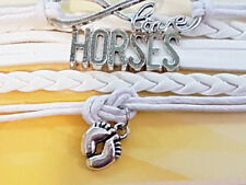 White Leather Alloy Cuff Charm Bracelet Bangle Horse Baby Feet Free Shipping AUS