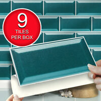 "Self Adhesive Peel and Stick Wall Tiles | Pk of 9 Easy Fit Teal 8""x4"" Tiles"