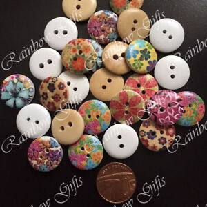 18mm WOODEN BUTTONS FLOWER 2 HOLE SEWING BUTTONS MIXED SCRAPBOOKING CARD MAKING