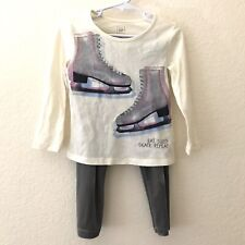 Gap Baby Girls Size 2T Outfit 2 PC Set Long Sleep Ice Skate Top & Gray Leggings