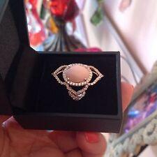 14K Rose Gold Pink Opal 12 x 10mm & White Zircon Ring Sz8 by Carol Brodie