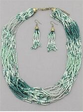 Anthropologie Pistachio Mint Emerald Green Beaded Layered Necklace FREE Earrings