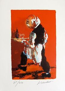 Urbain Huchet THE WAITER Hand Signed Limited Edition Lithograph Art