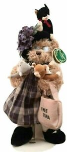 """13"""" Bearington Bear IMA SPINSTER Cat Lady Handcrafted Limited Edition Retired"""