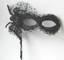 HAND HELD SPIDER HALLOWEEN MASQUERADE PARTY BALL CARNIVAL MASK ON A STICK