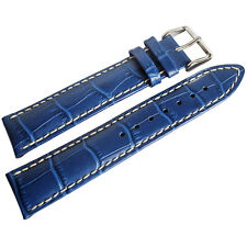 20mm Hirsch Modena Mens Royal Blue Alligator-Grain Leather Watch Band Strap