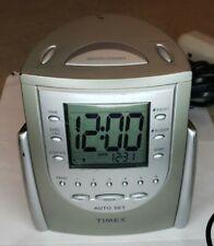 Timex Auto-Set Dual-Alarm Clock Radio (Titanium) w/ Am/Fm T311T Tested Preown