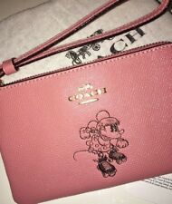 New Coach X DISNEY Minnie Mouse Pink  Corner Zip Leather Wristlet - New With Tag