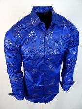 Mens Shirt Blue Medusa Gold Bronze Foil Italian Design Stretch Button Up