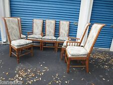 Tall 6 Dining Chairs Faux Bamboo Hollywood Regency 7 Captain Cottage Coastal