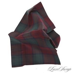 NWT Brooks Brothers Cotton Cranberry Holly Green Gradient Tartan Pocket Square