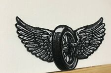 WINGS FLYING WHEEL PATCH IRON OR SEW ON BIKER MOTORCYCLE LEATHER WEST