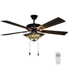 "52""W Stained Glass 5-Blade Orson Craftsman LED Ceiling Fan Remote Mission Style"