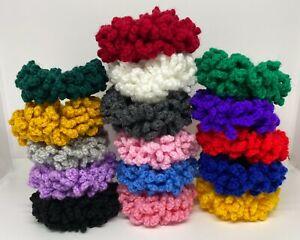 Crochet hair scrunchies, large variety of colours, Handmade UK